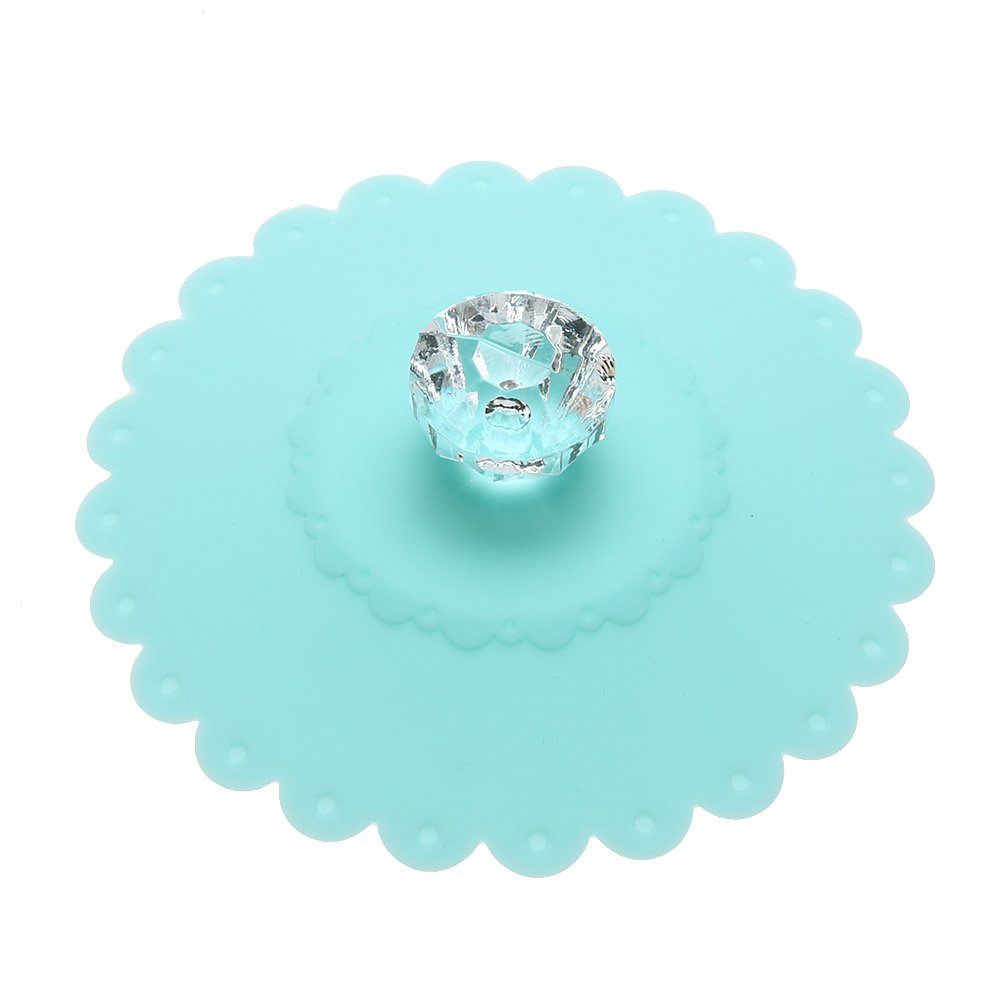 Whitelotous Suction Seal Silicone Cup Lids Cap with Diamond Handle Dustproof Tea Coffee Thermal Insulation Cup Cover (Baby Blue)