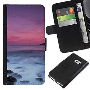 All Phone Most Case / Oferta Especial Cáscara Funda de cuero Monedero Cubierta de proteccion Caso / Wallet Case for Samsung Galaxy S6 EDGE // Sea Sunset Purple Waves Nature Summer