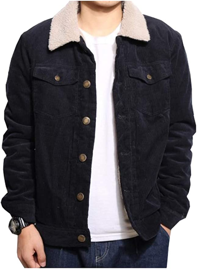 Men/'s Winter Corduroy Fur Lined Shirts Warm Tops Long Sleeves casual Coats New