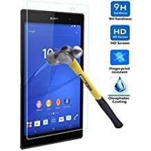 Sony Xperia Z3 Tablet Compact Tempered Glass Screen Protector,CoolDi 0.3mm Slim And 9H Hardness Bubble-Free, Anti-Fingerprint, Oil Stain&Scratch Coating for Sony Xperia Z3