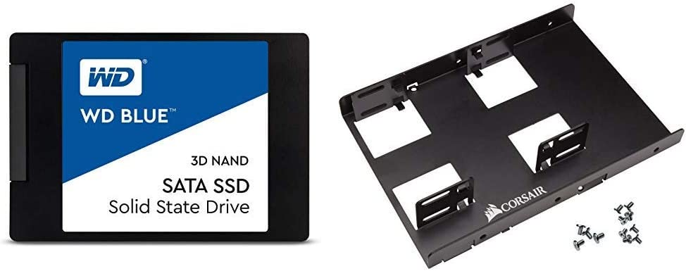 "WD Blue 3D NAND 500GB PC SSD - SATA III 6 Gb/s, 2.5""/7mm - WDS500G2B0A & Corsair Dual SSD Mounting Bracket 3.5"" CSSD-BRKT2"