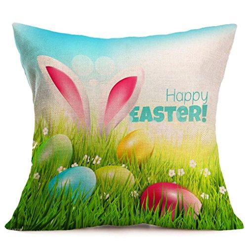 Kemilove Cartoon Flax Decorative Pillow Case Cute Bunny Eggs Cushion Home Sitting Room Office Zipper Decorative Throw Pillows 17 Inches 17 Inches (G) Easter Eggs Mailbox Cover