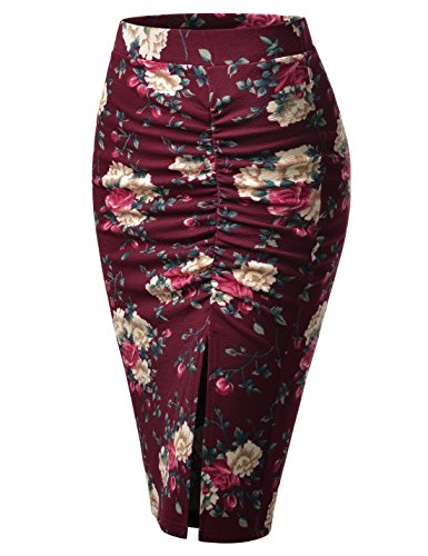 NEARKIN (NKNKWSK742) Womens Figure Hugging Waistband Shirred Flowery Slit Midi Pencil Skirt WINE US M(Tag size (Waistband Pencil Skirt)