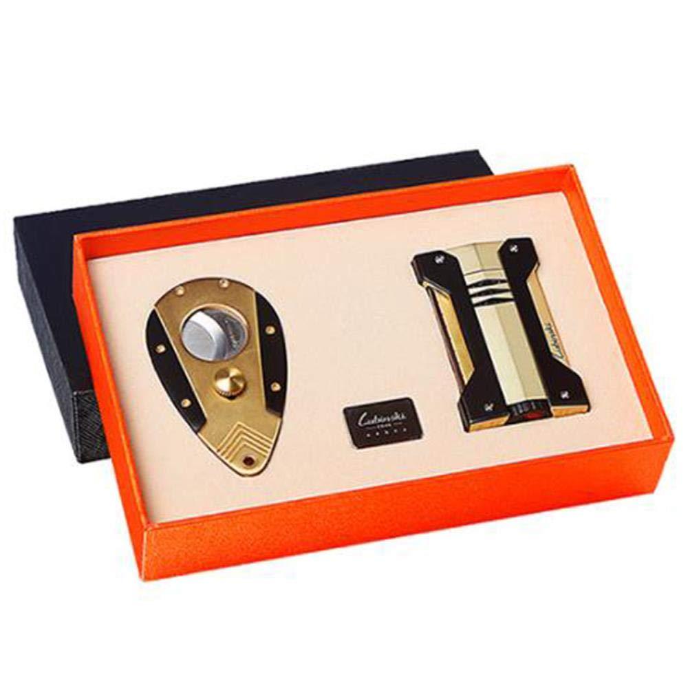 LUBINSKI Elegant Stainless Steel Windproof Cigar Lighter Super Sharp Cutter Scissor Cigar Cigarette Set with Gift Box