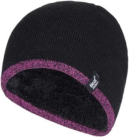Heat Holders Women's Thick Fleece Lined Winter Warm Thermal WRK Work Beanie Hat, Black/Pink Trim, One Size