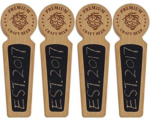 Fanfoobi Set Of 4-40 Wood tap handle for kegerator, Chalkboard beer keg tap handle with laser engraved pine nuts logo, Premium Craft Beer, 8.3 INCH Long Cherry Wood, Craft beer gifts …