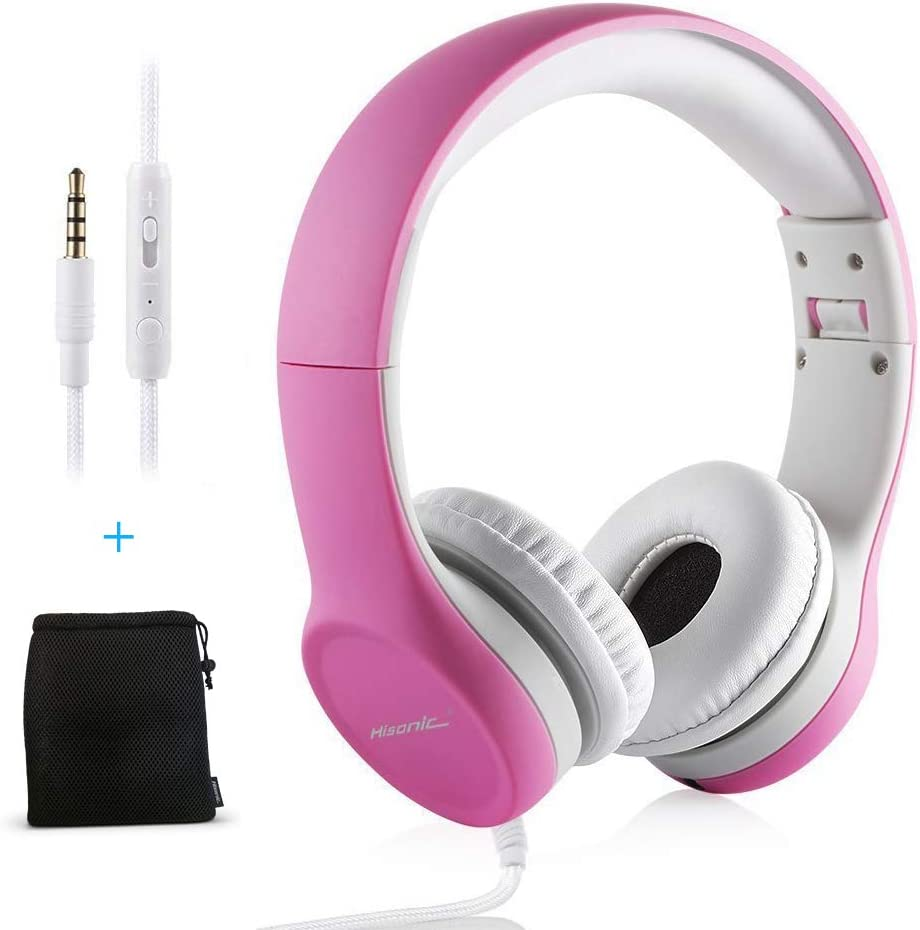 Auriculares para Niños, Hisonic Auriculares Plegable de Diadema con Cable Ajustables con Limitación de Volumen niños. (Rosa)