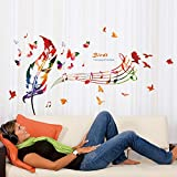 47 x 28 Inch Colorful Bird Feather Butterfly Music Notes DIY Wall Sticker Living Room Sofa TV Wall Decor Art Bedroom Nursery Mural Decals Decorative Vinyl Stickers Home Decor