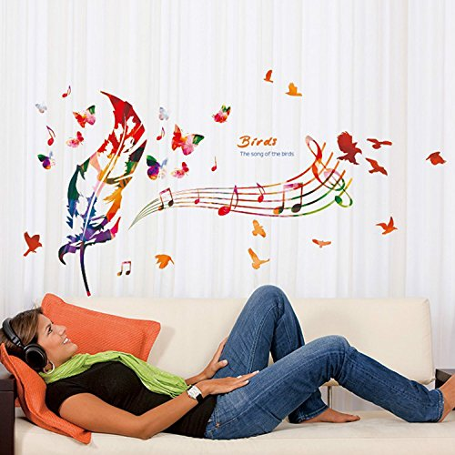 47 x 28 Inch Colorful Bird Feather Butterfly Music Notes DIY