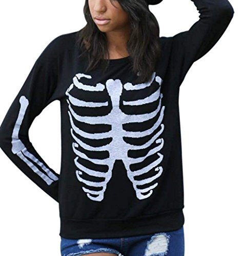Women Fashion Cool Skeleton Printed Long Sleeve Blouse Tops Pullovers XL