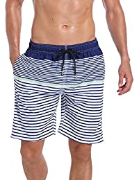 Men's Quick Dry Swim Trunks Bathing Suit Striped Shorts with Pockets