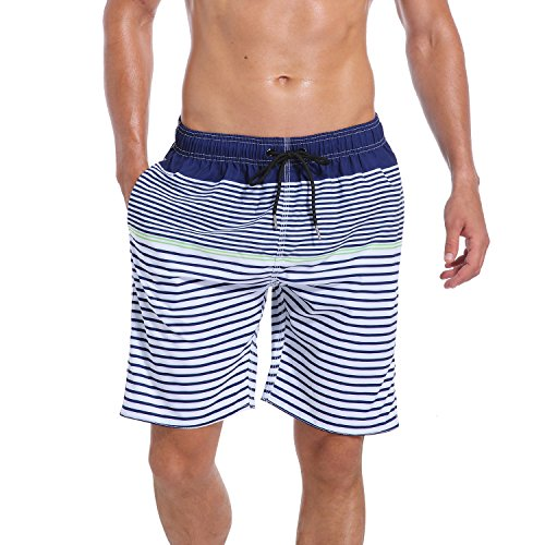 QRANSS Men's Quick Dry Beach Shorts with Pockets (Small / 30-32 Inches, Navy)