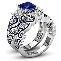 LALISA 2Pcs/Set Lily of the Valley Inspired Blue Sapphire Princess Cut Two Tone Wedding Ring Set #5-12 (9)