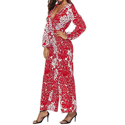 Femmes Combi Manches Vrac Barboteuses Imprimés Longues En Ihaza Longs Rouge Automne pantalons 6IvY7mgybf