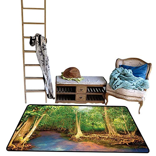 (Rainforest, Kids Carpet Playmat Rug, Roots of Mangrove Trees with Turquoise Creek Asian Nature Wildlife Themed Print, Floor Mat for Kids, W60 x L72 Inch, Green Brown)