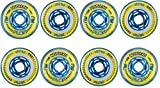 Revision Wheels Inline Roller Hockey Flex Firm Blue/Yellow 76mm 80A 8-Pack