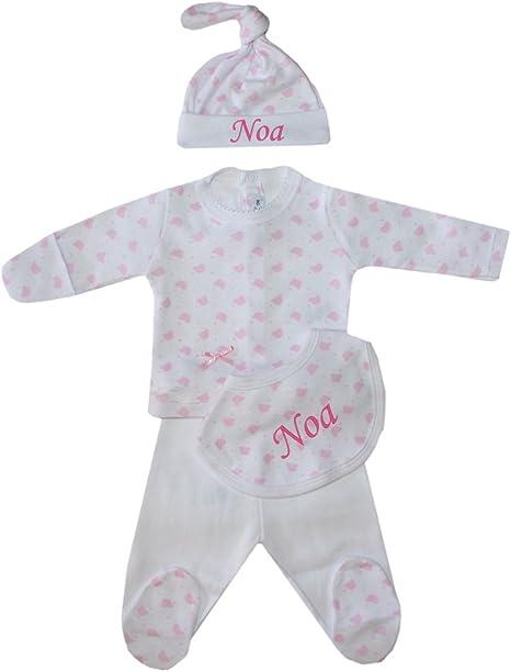 Set bebé primera puesta personalizado con nombre en gorrito y babero, color rosa.: Amazon.es: Bebé