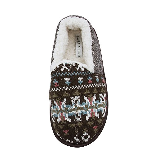 Laura Ashley Ladies Knit Closed Back Slippers with Faux Sherpa Lining, Brown, X Large (House Sherpa)