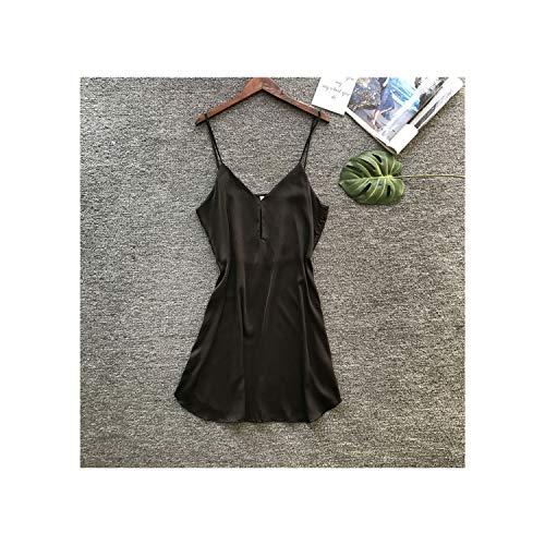Summer Satin Night Suits Women Nightwear Sexy Silk Ladies Nightgowns Pajamas Nightdress Sleepshirts,Black,L