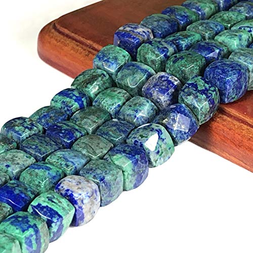 [ABCgems] Extremely Rare Afghanistan Azurite (Exquisite Matrix- Grade AA) Faceted 8mm Cube Beads for Beading & Jewelry - Gem Azurite