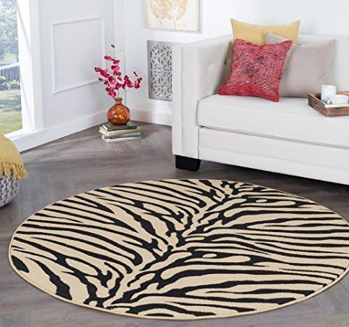 Zara Transitional Animal Beige Round Area Rug, 8 Round
