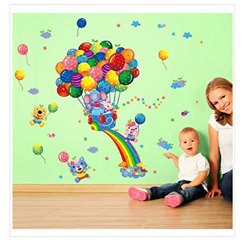 Wall Sticker Ikevan Hot Air Balloon Cartoon Children Wall Stickers Children Bedroom Decoration Diy