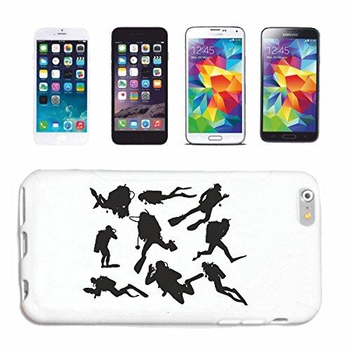 """cas de téléphone iPhone 6+ Plus """"SILHOUETTE plonger plongeur ÉQUIPEMENT PLONGÉE PLONGÉE"""" Hard Case Cover Téléphone Covers Smart Cover pour Apple iPhone en blanc"""