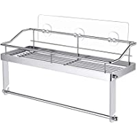 Cimaybeauty Adhesive Paper Towel Holder with Shelf Storage Wall Basket for Kitchen,Bathroom Stainless Steel Seamless Rack with Paper Towel Holder Bathroom Supplies