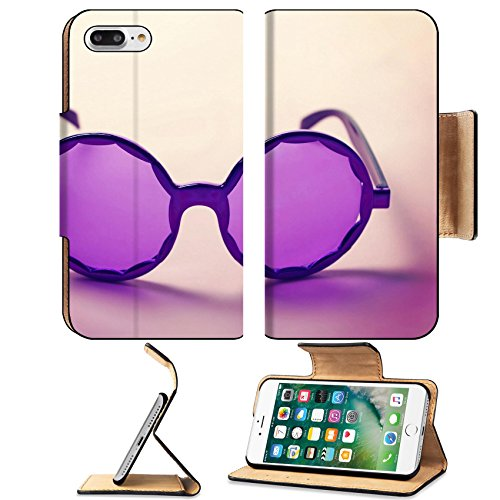 Luxlady Premium Apple iPhone 7 Plus Flip Pu Leather Wallet Case iPhone7 Plus 34009416 Funky purple sixties hippy sunglasses with shadows horizontal (Ridge Track Scenic)
