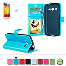 Samsung Galaxy S3 Case Cover [with Free Screen Protector], Funyye Classical Pure Colour Premium Folio Leather Wallet Magnetic Flip Cover with [Credit Card Holder Slots] Book Type Style With Ultra Thin Fitted Protective Cover Shell for Samsung Galaxy S3 - Blue