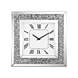 Sterling Kings Road Wall Clock in Crushed Crystals and Clear Mirror