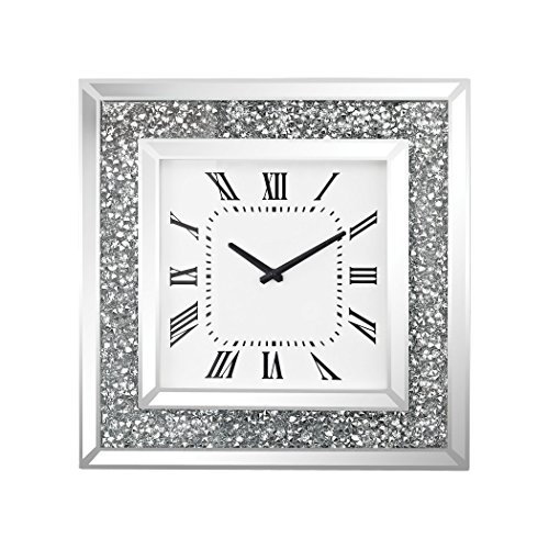 Sterling Kings Road Wall Clock in Crushed Crystals and Clear Mirror by Sterling