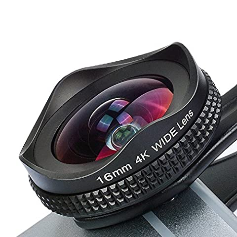 Apexel iPhone Lens, 16mm Wide Angle Camera Lens with CPL Filter Lens Kit for iPhone 7 6/6s 6Plus/6s Plus Samsung Galaxy S7/S6 Most Andriod Smartphones (No Dark Circle)-Black