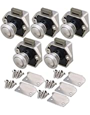 RDEXP 20mm Opening Hole Push Button Keyless Locks Latch Knob Cupboard for RV Drawer Cabinet Door Thickness 15-27mm Set of 5