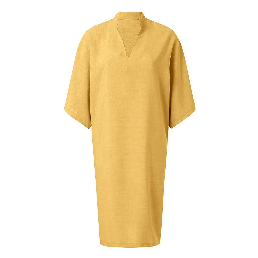 Geilisungren Faldas Corta Mujer Fiesta Elegante Vestidos Mujer Casual Suelto Manga Corta Cuello en V Faldas La Gasa Vestido de Camiseta Verano Talla Grande Faldas de Playa Color s/ólido Minifalda