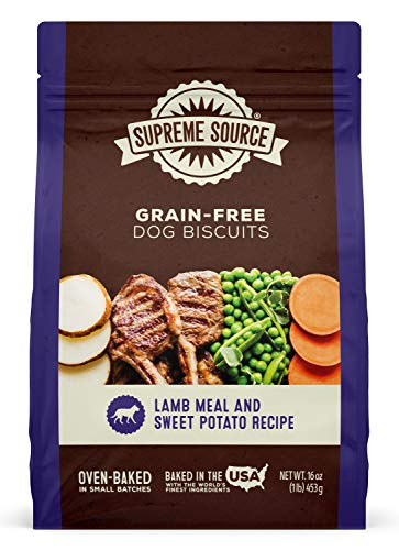 Supreme Source Premium Dog Biscuits Grain Free, Protein, Lamb Meal & Sweet Potato Recipe Dog Biscuits. Made in The USA.