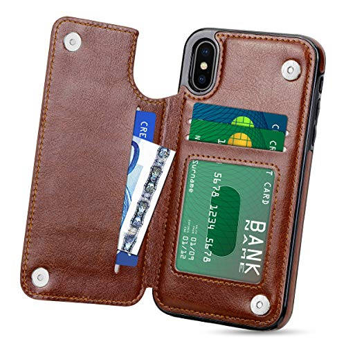 HianDier Wallet Case for iPhone Xs MAX, Slim Protective Case with Credit Card Slot Holder Flip Folio Soft PU Leather Magnetic Closure Cover Case Compatible with iPhone Xs MAX 6.5 (2018), Brown