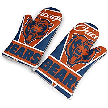 not Chicago Bears Oven Mitts with Polyester Fabric Printed Pattern,1 Pair of Heat Resistant Oven Gloves for Cooking,Baking,Grilling,Barbecue Potholders