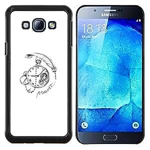 LECELL--Funda protectora / Cubierta / Piel For Samsung Galaxy A8 A8000 -- Pluma Time Clock --