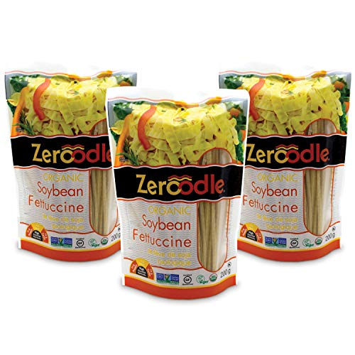 Zeroodle 3-Pack Low Net Carb Gluten Free Vegan Pasta - Organic Soybean Fettuccini Noodles - High Protein