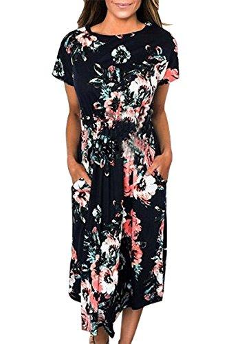 OMZIN Vestido Largo de Manga Corta Imperio con Estampado Floral para Mujer S-3XL Negro