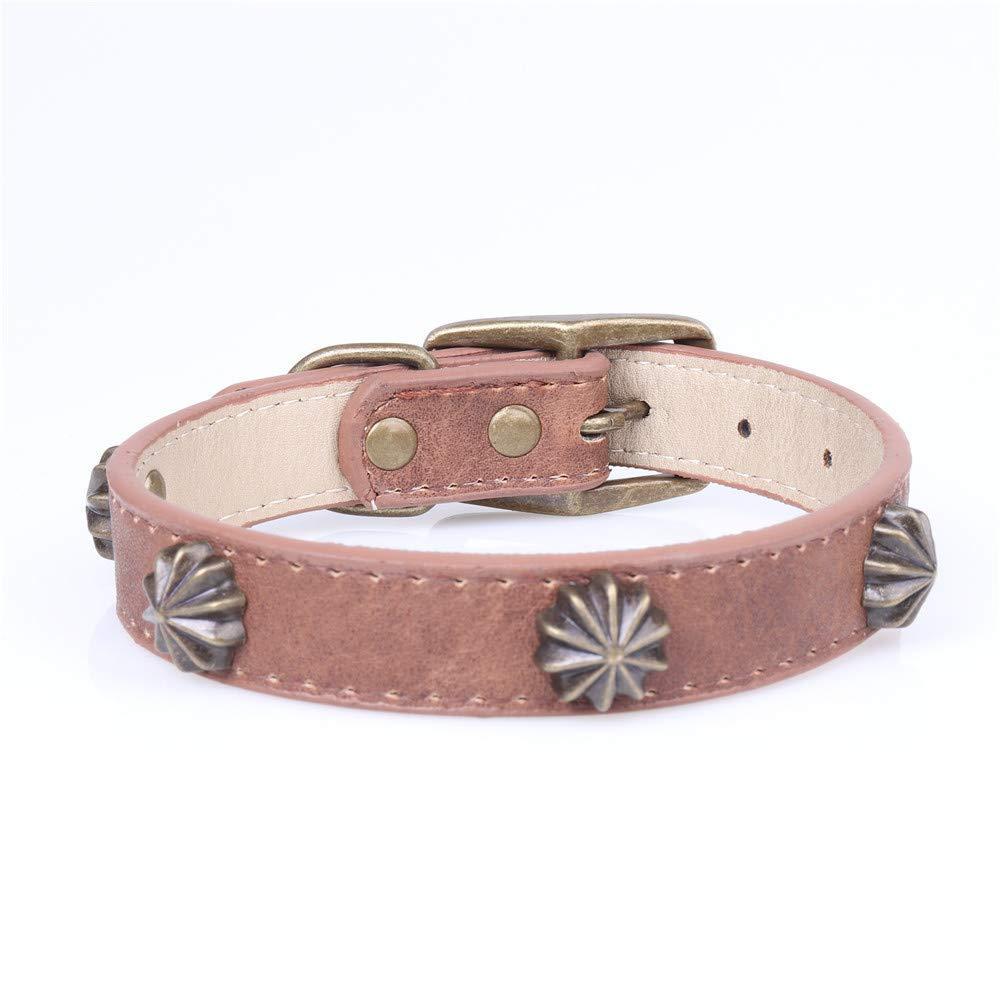 Brown 2.0×29-36cm Lindou Pet collar Pet collar retro copp nail decoration adjustable dog collar,Brown,2.0×29-36cm (color   Brown 2.0×29-36cm)