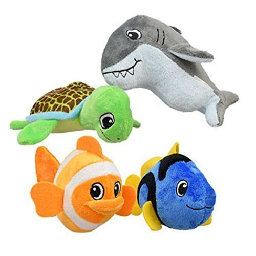 Plush Fish Sea Creatures Toys Soft Toys Bundle (4 Items): 1 Each- Green Sea Turtle, Gray Great Shark, Orange/White Clown Fish, Blue Tang Fish. Fuzzy Friends Plush Stuffed Sea Animals 6.5