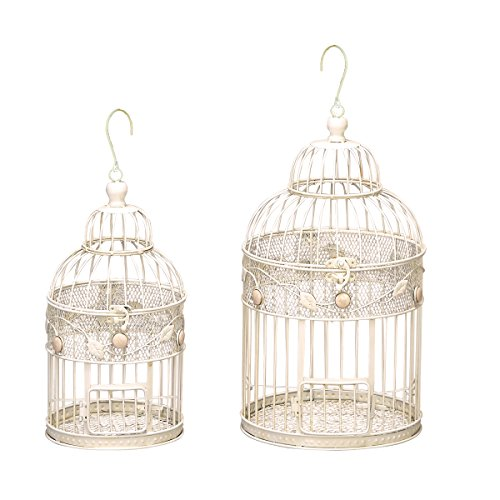 Urban Designs Antique White Decorative Metal Bird Cages