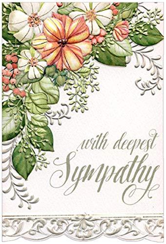 Pictura Deepest Sympathy Silver and Floral Border Sienna Garden Die Cut Sympathy Card