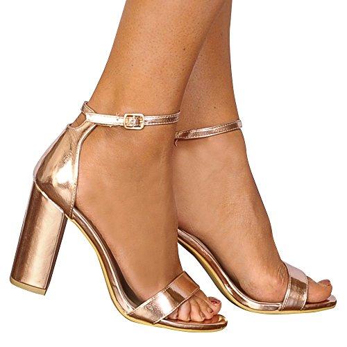 À Là Placard Lanières Rose D'or Sandales Hauts À Dames De Chaussures À Peine Talons Métallique TSHqn45x