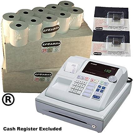 eposbits® marca 40 rollos + 2 x de tinta para Casio 130 CR 130 CR caja registradora: Amazon.es: Oficina y papelería