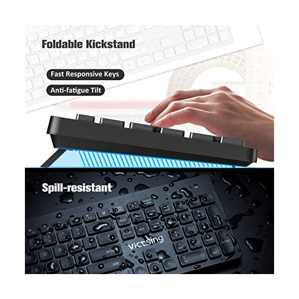 VicTsing Wireless Keyboard and Mouse Combo, Ultra-Thin Chiclet Keyboard and Mute Mouse, 2.4GHz 26ft Wireless Connection…