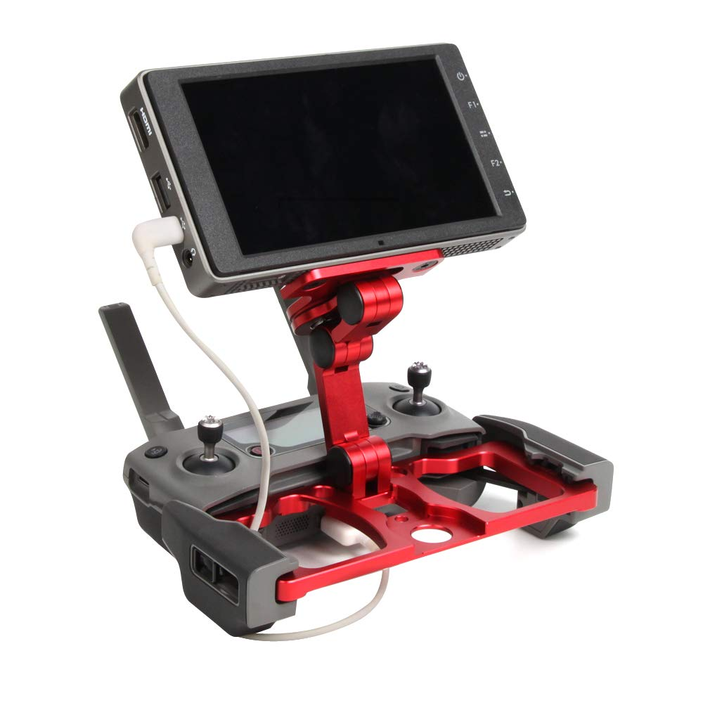 Sunnylife Foldable Aluminum Tablet Stand, Smart Phone Holder Mount/CrystalSky Monitor Holder with Lanyard Support for Mavic 2/ Mavic PRO/Mavic AIR/Spark Remote Controller (3 in 1)-Red by SunnyLIFE