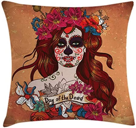 Dia De Los Muertos Spanish Mexican Festive Skull Art Cinnamon Magenta Maroon Min 26751 24x24 24 X 24 Inches Decorative Square Accent Pillow Case Ambesonne Day Of The Dead Decor Throw Pillow Cushion Cover